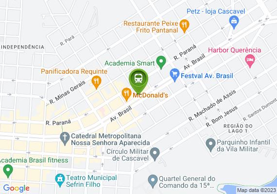 Mapa Travessia de ESTUDANTES. Na esquina da Av. Brasil com a dom