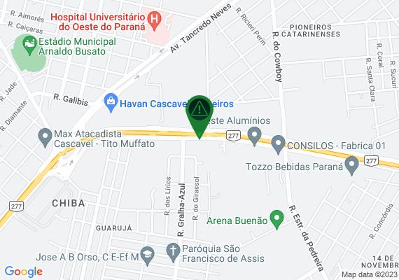 Mapa Barranco desmoronou próximo ao viaduto da Marginal que vai