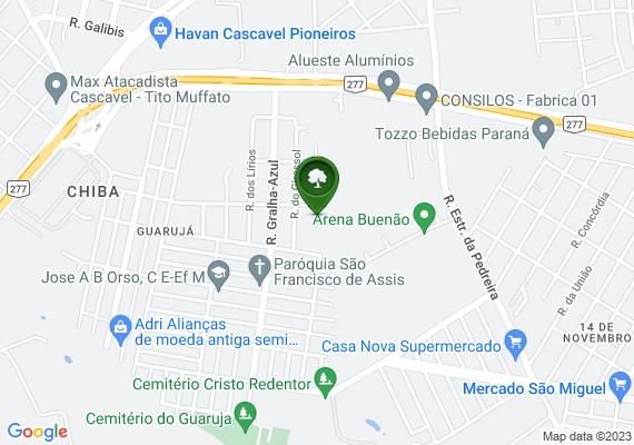 Mapa Área pública para ginástica dos moradores do bairro