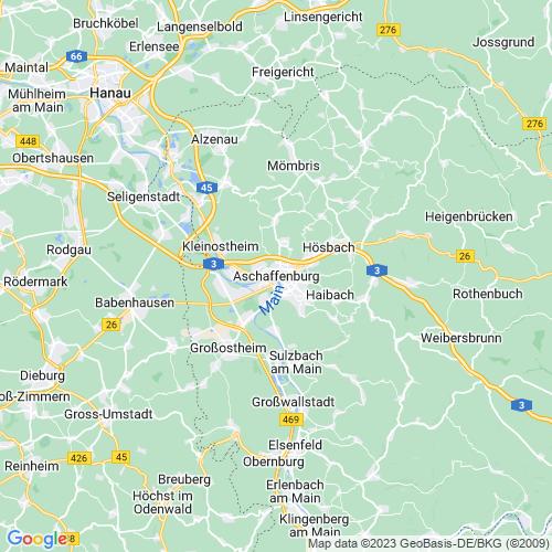 Karte von Aschaffenburg und Umgebung