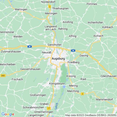 Karte von Augsburg und Umgebung