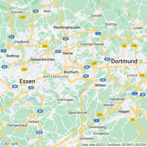 Karte von Bochum und Umgebung