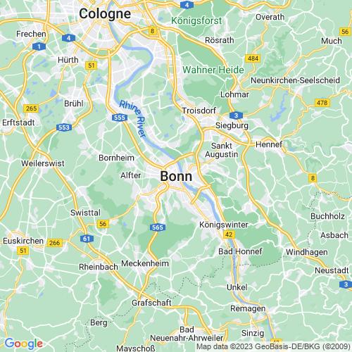 Karte von Bonn und Umgebung