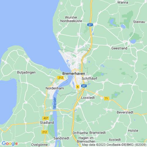 Karte von Bremerhaven und Umgebung