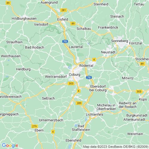 Karte von Coburg und Umgebung