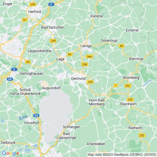 Karte von Detmold und Umgebung