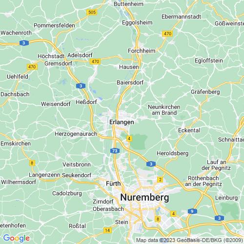 Karte von Erlangen und Umgebung