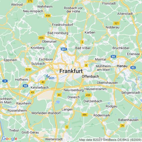 Karte von Frankfurt am Main und Umgebung