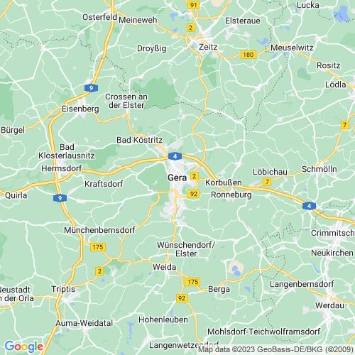 Karte von Gera und Umgebung