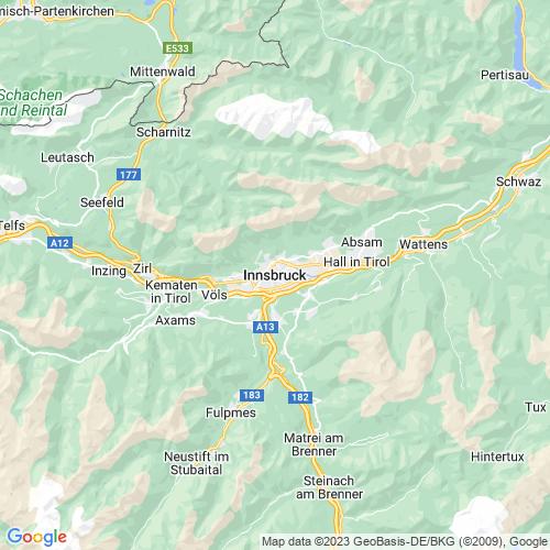 Karte von Innsbruck und Umgebung