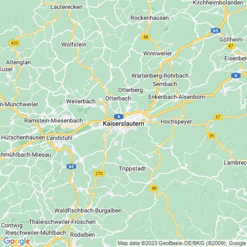 Karte von Kaiserslautern und Umgebung
