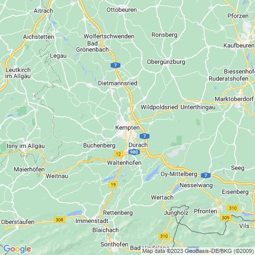 Karte von Kempten und Umgebung