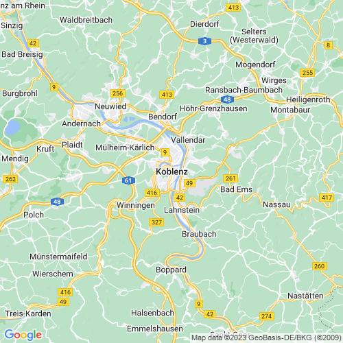 Karte von Koblenz und Umgebung