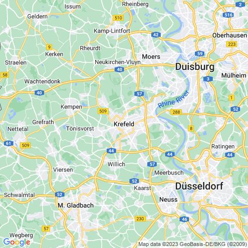 Karte von Krefeld und Umgebung