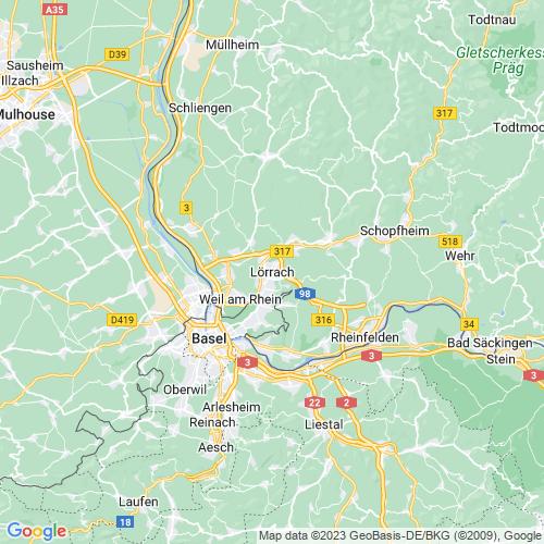 Karte von Lörrach und Umgebung