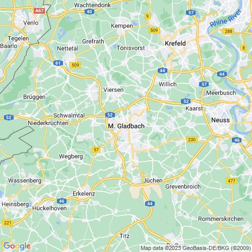 Karte von Mönchengladbach und Umgebung