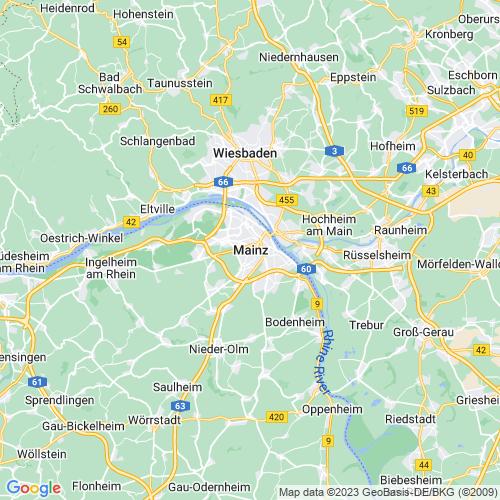 Karte von Mainz am Rhein und Umgebung