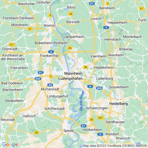 Karte von Mannheim und Umgebung