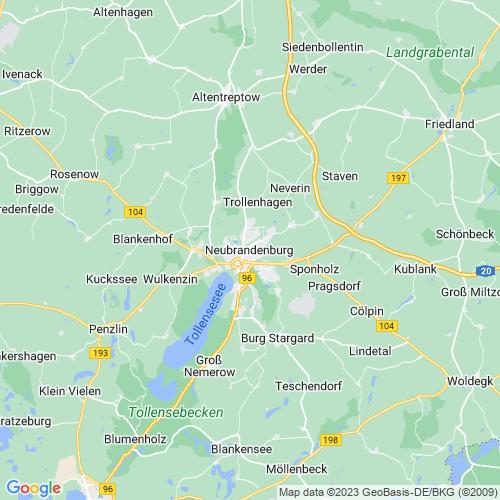 Karte von Neubrandenburg und Umgebung