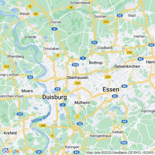 Karte von Oberhausen und Umgebung