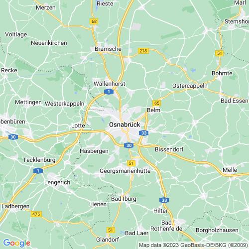 Karte von Osnabrück und Umgebung