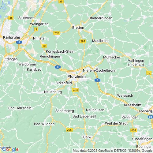 Karte von Pforzheim und Umgebung