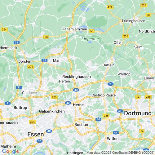 Karte von Recklinghausen und Umgebung