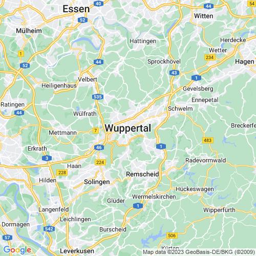 Karte von Wuppertal und Umgebung
