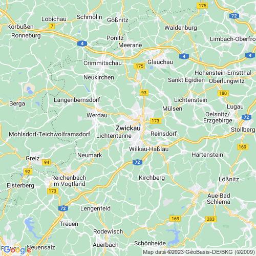 Karte von Zwickau und Umgebung
