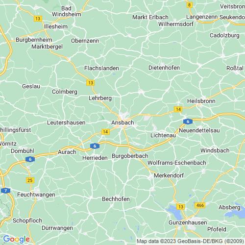 Karte von Ansbach und Umgebung