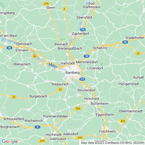 Karte von Bamberg und Umgebung