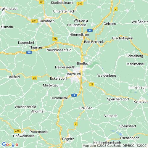 Karte von Bayreuth und Umgebung