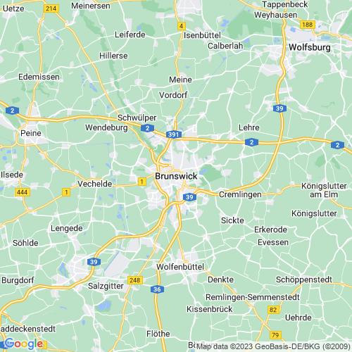 Karte von Braunschweig und Umgebung