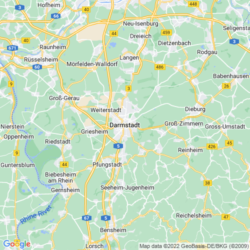 Karte von Darmstadt und Umgebung