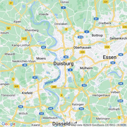 Karte von Duisburg und Umgebung