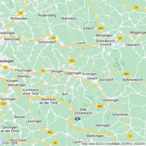 Karte von Göppingen und Umgebung