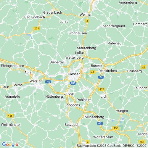 Karte von Gießen und Umgebung