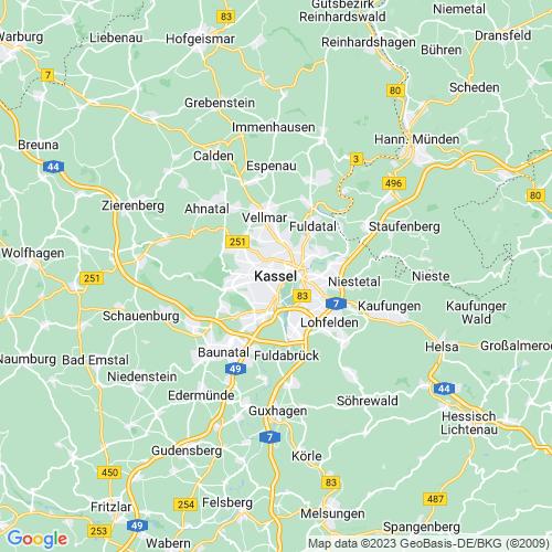 Karte von Kassel und Umgebung