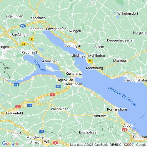 Karte von Konstanz und Umgebung