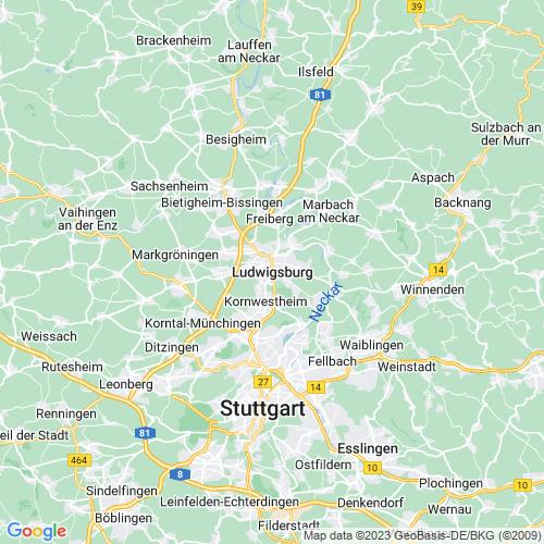 Karte von Ludwigsburg und Umgebung
