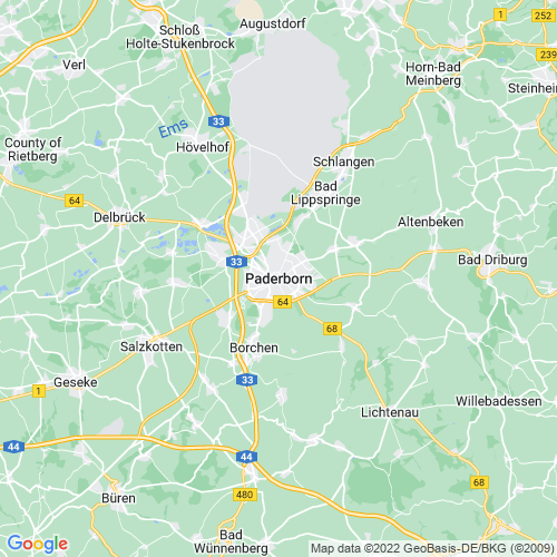 Karte von Paderborn und Umgebung