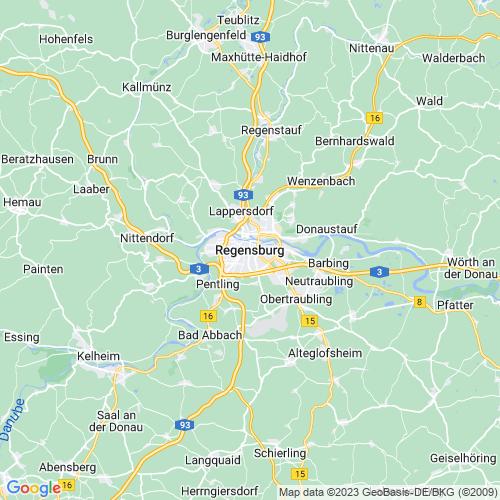 Karte von Regensburg und Umgebung