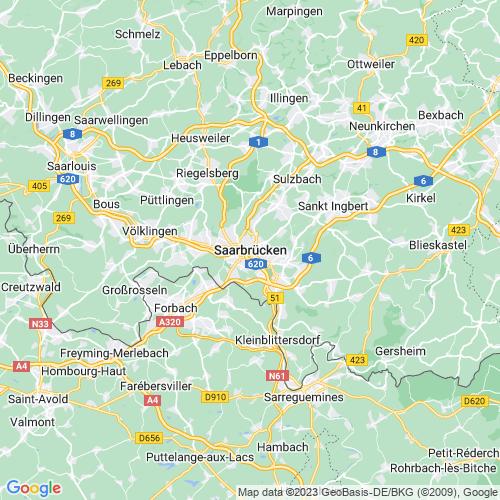 Karte von Saarbrücken und Umgebung