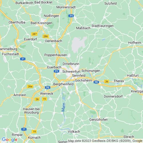 Karte von Schweinfurt und Umgebung