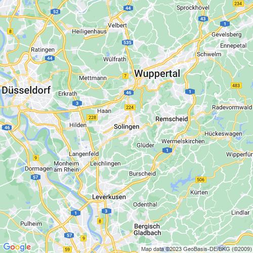 Karte von Solingen und Umgebung