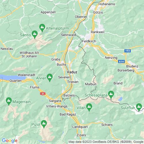 Karte von Vaduz und Umgebung