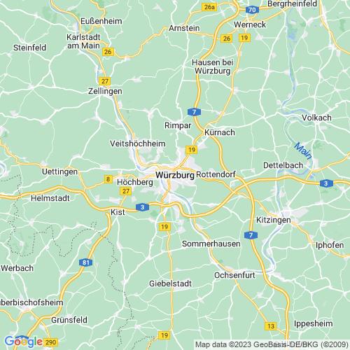 Karte von Würzburg und Umgebung
