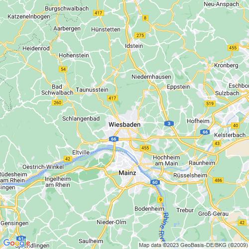 Karte von Wiesbaden und Umgebung