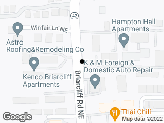Map showing location of Briarcliff @ Hampton Hall Apts