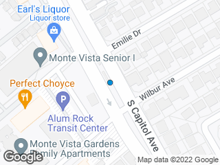 Map showing location of Alum Rock (To: Santa Teresa)